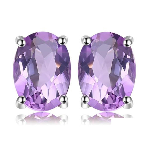 Royal Amethyst Stud Earrings Silver Jewelry