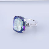 Rainbow Fire 18.42Ct Mystic Topaz Cocktail Ring Silver Jewelry