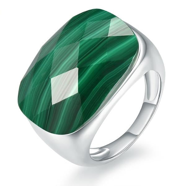 Precious! Checkerboard Cut Malachite Silver Unisex Ring