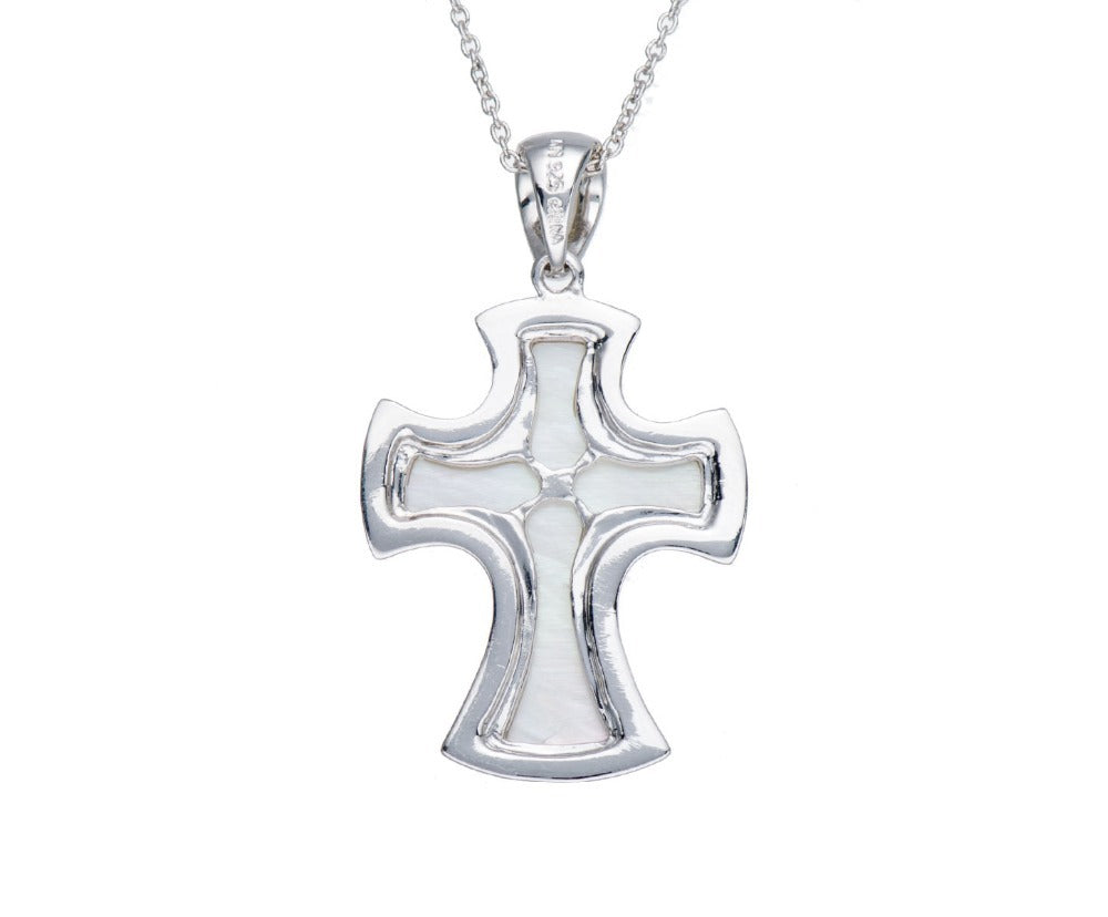 Unique Mother of Pearl Cross Pendant Necklace Silver Jewelry