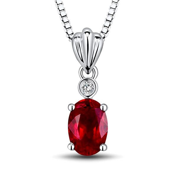 Exotic Ruby Diamond Pendant 18kt White Gold