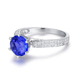 SUPERB 0.66Ct Diamond & 2.44Ct Tanzanite Ring 14K White Gold Jewelry