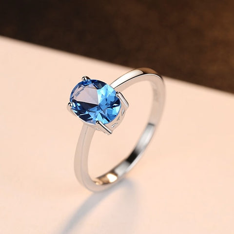 Serene Sky Blue Topaz Ring Silver Jewelry