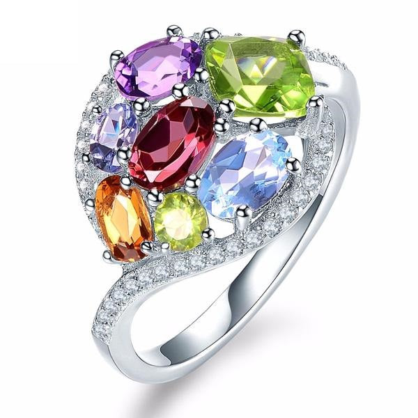 Stylish Amethyst Tanzanite Citrine Garnet Multi Gemstone Ring Silver Jewelry