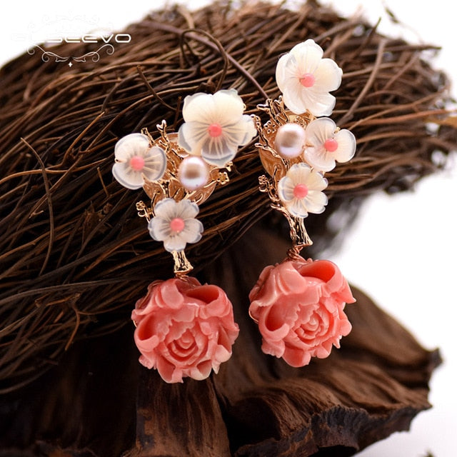 MUST Have! Silver Pearl Jewelry White and Pink Coral Drop Earrings