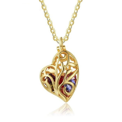Personalization  EDIT Heart Pattern Hollow With Birthstone Personalized Gift Gold Color 925 Sterling Silver Necklaces & Pendants (JewelOra NE102695)