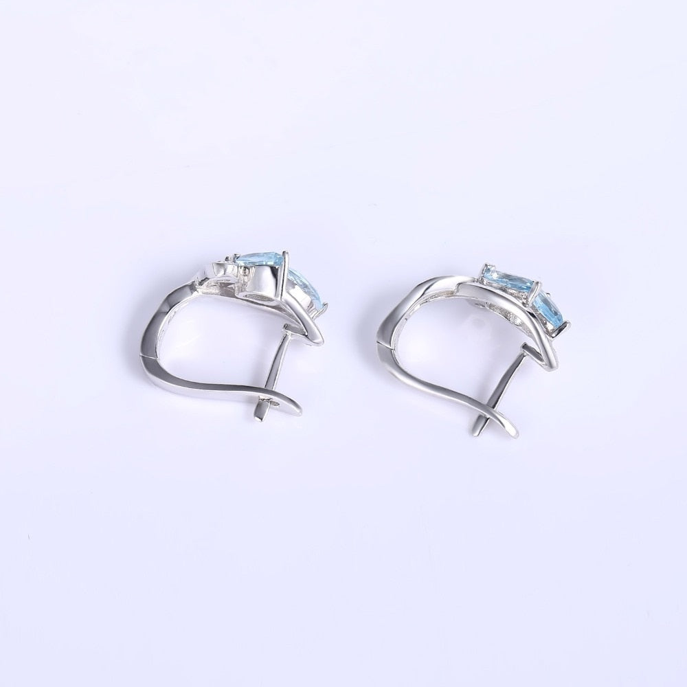 Flattering Sky Blue Topaz Earrings Silver Jewelry