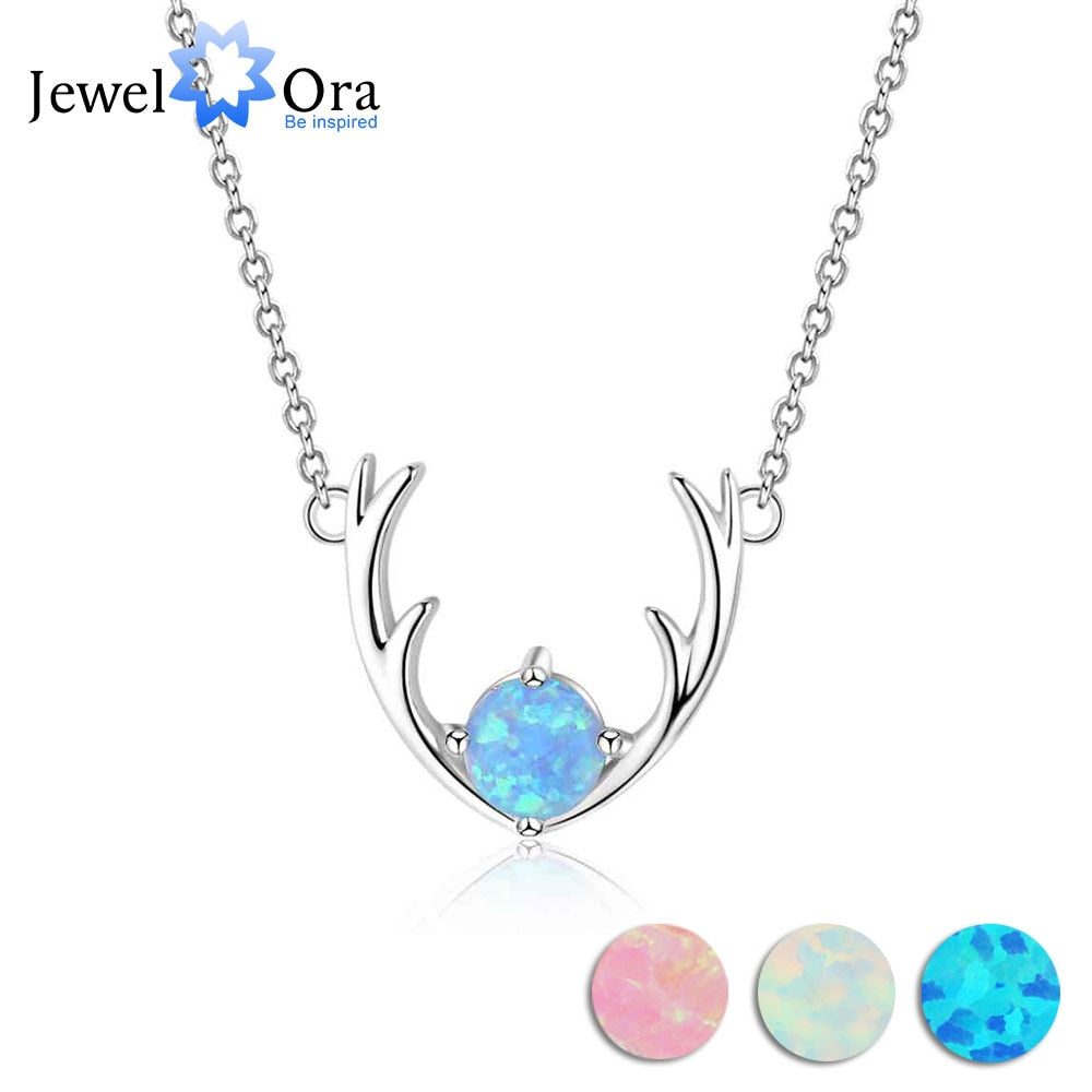 Deer Head Opal Pendant Necklace Silver Jewelry Trish