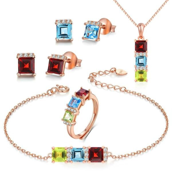 Wedding Gift! Silver Garnet Blue Topaz Peridot 5PCS Jewelry Set