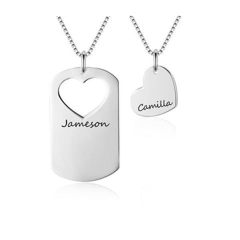 Personalization EDIT Pcs/Set Overlapping Heart Design Love Personalized Name Necklace 925 Sterling Silver Necklaces & Pendants (JewelOra NE102388)