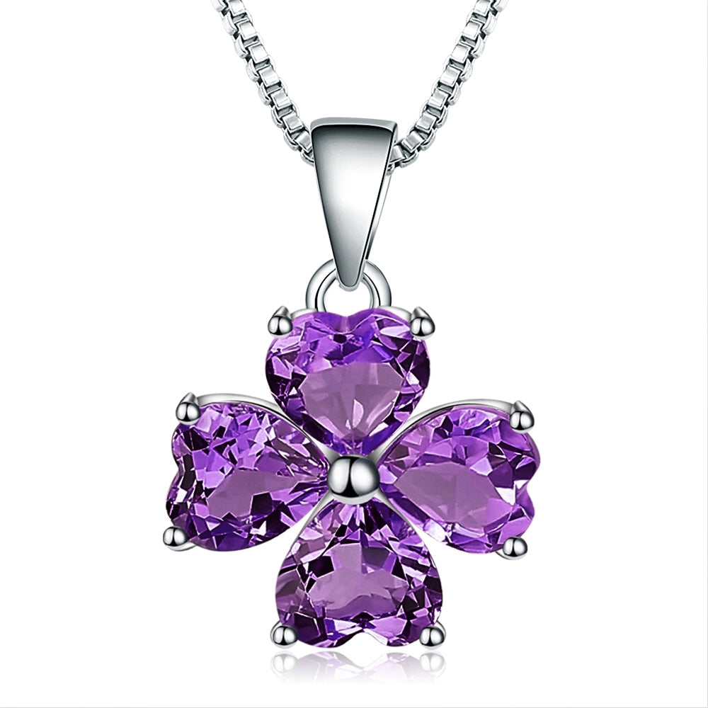 Lucky! 3.13ct Amethyst Clover Drop Pendant Silver Jewelry