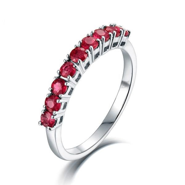Special Ruby Ring 18k White Gold Anniversary Band Jewelry