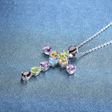 XMAS Multi Color Gemstone Cross Pendant Amethyst Garnet Citrine Topaz Silver Jewelry