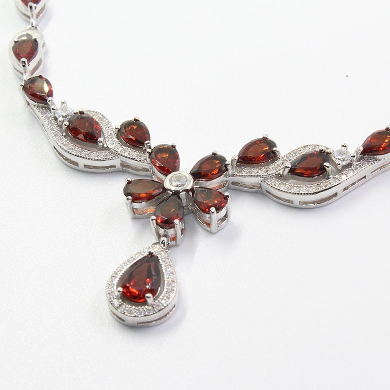 Ornate Garnet Necklace Handcrafted Silver Jewelry