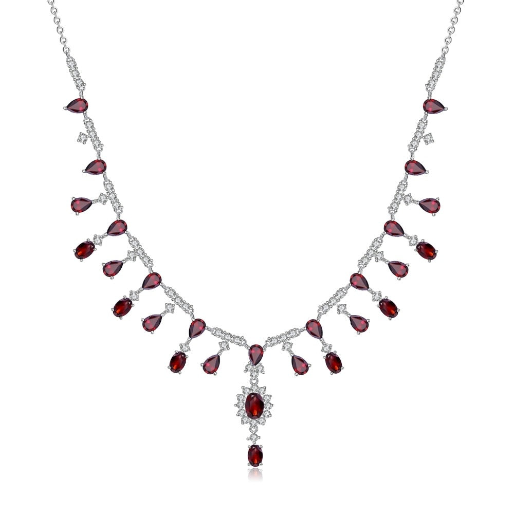 Stylish 15.2Ct Garnet Necklace Silver Bridal Necklace Fine Jewelry