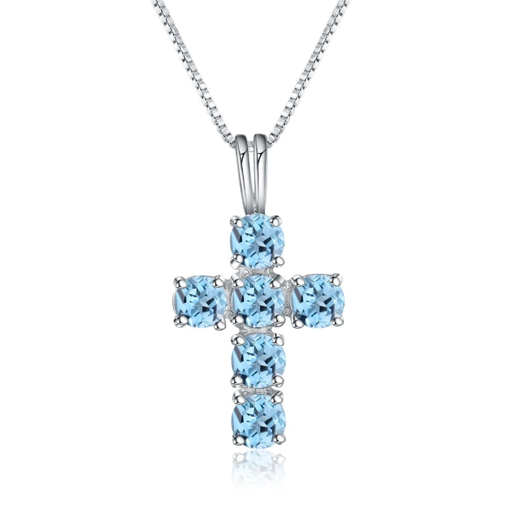 XMAS Gift! Blue Topaz Cross Pendant Silver Necklace