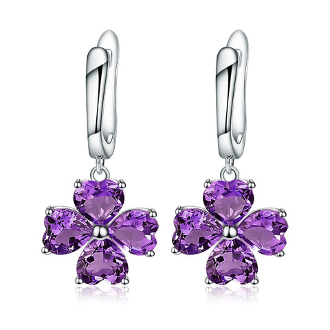 Lucky! 6.26ct Amethyst Clover Drop Earrings Silver Jewelry