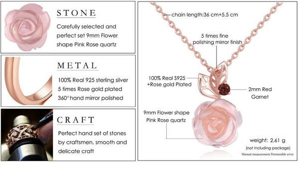 Exquisite Flowers Rose Quartz Set Silver Jewelry