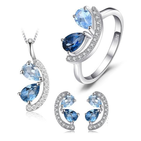 2.8ct Sky, London Blue Topaz Cluster Pendant Silver Jewelry Set