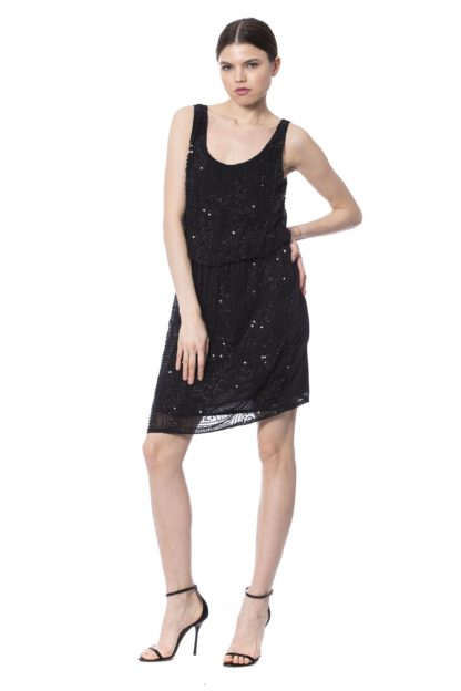 SILVIAN HEACH  Black Sleeveless Sequin Short Dress