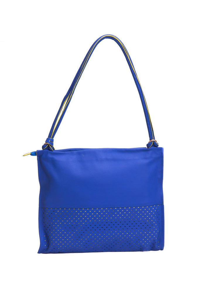 PIQUADRO Blue Navy/Rosso Red Leather Perforated Shoulder Bag