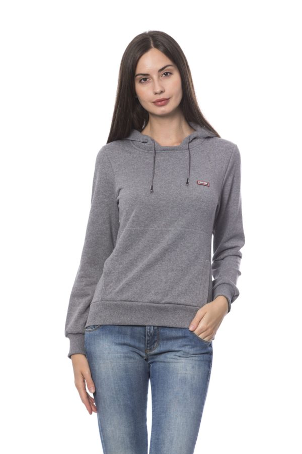 ROBERTO CAVALLI SPORT Grey Melange Hoodied Sweater For Women