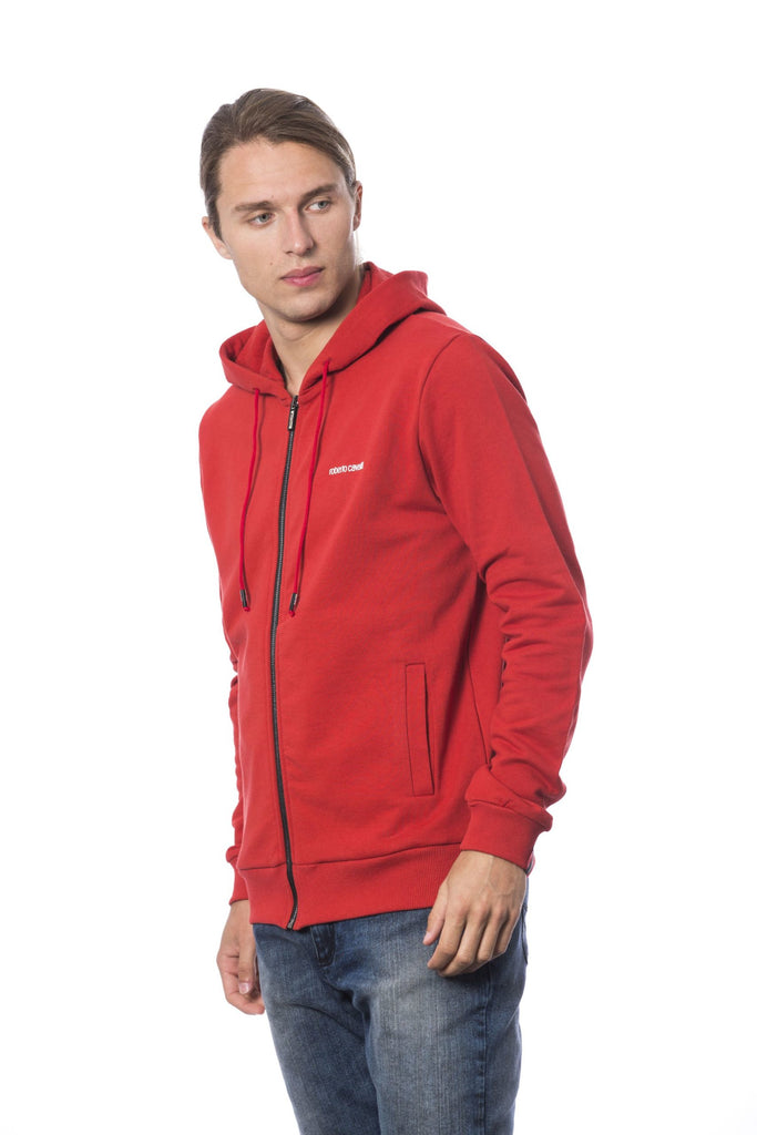 ROBERTO CAVALLI SPORT Hot Red Zipped Printed Sweater