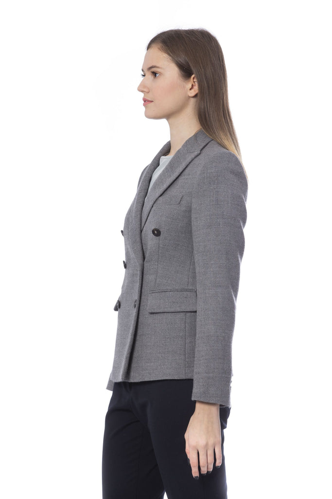 PESERICO Grigio Elegant Double Breasted Blazer Jackets & Coat