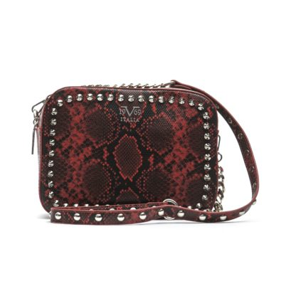 19V69 ITALIA Lightgreen/White/Red Snake Printed Crossbody Bag