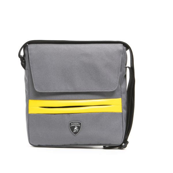 LAMBORGHINI Grigio Grey/Yellow Messenger Bag With Zipper And Strap Flap Closure