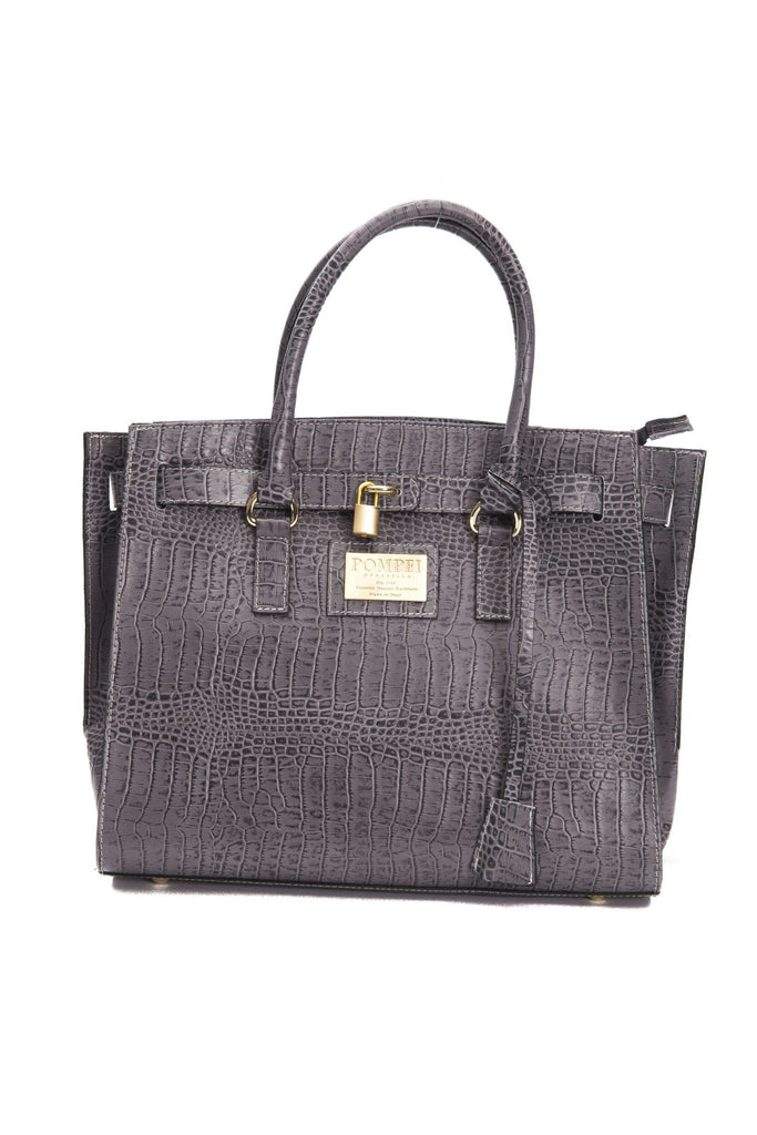 POMPEI DONATELLA  Grigio Grey Leather Tote Handbag