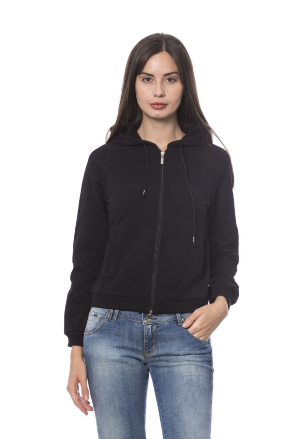ROBERTO CAVALLI SPORT Zipped Embroidered Hoodie Black Sweater