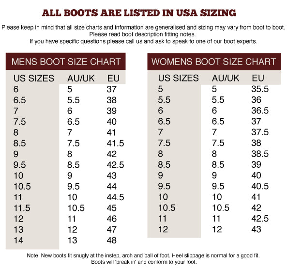 Ringers Western Boot Sizing Chart