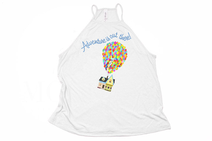 "Up! ""Adventure is Out There!"" High Neck Tank - Crazy Corgi Lady Designs - Unique Disney Themed Shirts"
