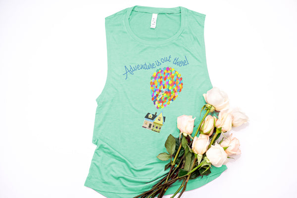 Up! Adventure Is Out There! Muscle Tank - Crazy Corgi Lady Designs