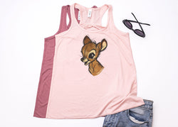 Bambi Sketch Racerback Tank - Crazy Corgi Lady Designs - Unique Disney Themed Shirts