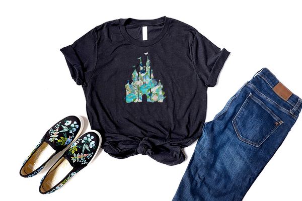 Blue Floral Castle Tee - Crazy Corgi Lady Designs - Unique Disney Themed Shirts