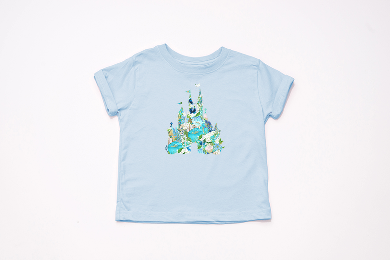 Blue Floral Castle Youth T-Shirt - Crazy Corgi Lady Designs - Unique Disney Themed Shirts