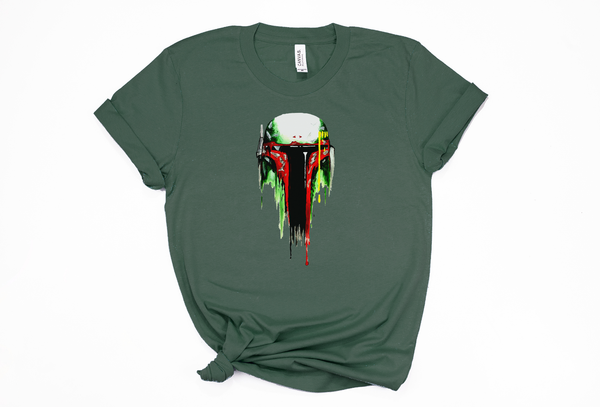 Boba Fett Mask Painting Unisex Tee - Crazy Corgi Lady Designs - Unique Disney Themed Shirts