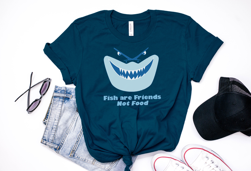 "Bruce ""Fish Are Friends Not Food"" Tee - Crazy Corgi Lady Designs - Unique Disney Themed Shirts"