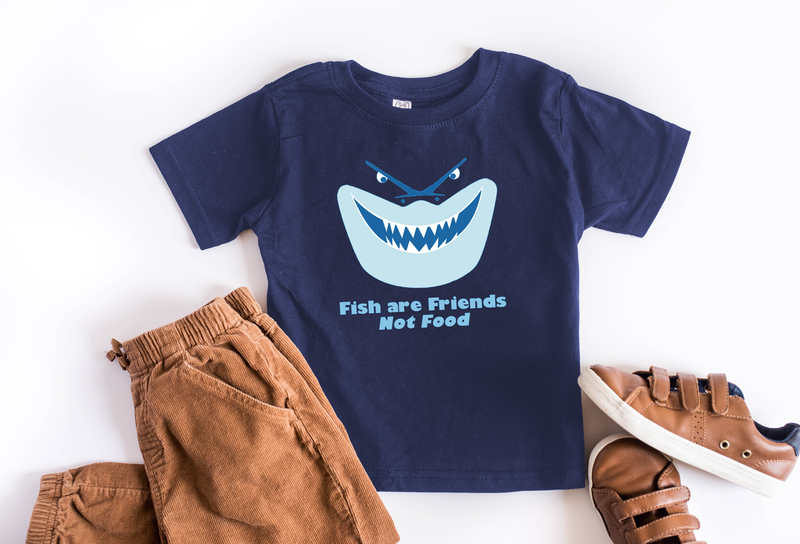 "Bruce ""Fish Are Friends, Not Food"" Youth T-Shirt - Crazy Corgi Lady Designs - Unique Disney Themed Shirts"