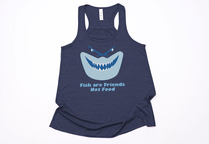 "Bruce ""Fish Are Friends Not Food"" Racerback Tank - Crazy Corgi Lady Designs"