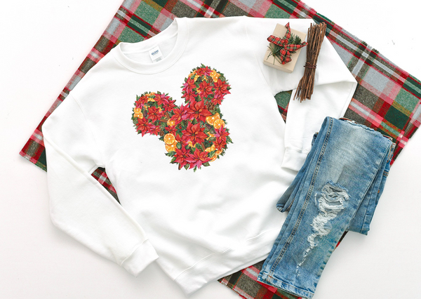 Christmas Floral Mickey Sweatshirt - Crazy Corgi Lady Designs - Unique Disney Themed Shirts