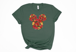 Christmas Floral Mickey Tee - Crazy Corgi Lady Designs - Unique Disney Themed Shirts