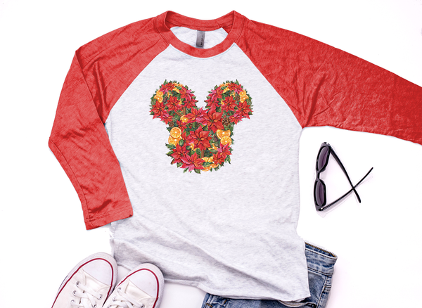 Christmas Floral Mickey Unisex Baseball Shirt / Raglan - Crazy Corgi Lady Designs - Unique Disney Themed Shirts