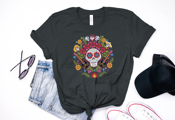 Coco Dios De Los Muertos Skull Tee - Crazy Corgi Lady Designs - Unique Disney Themed Shirts