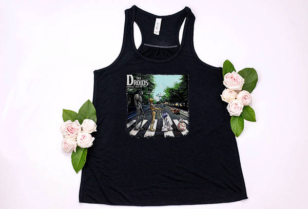 The Droids/Abbey Road Star Wars Racerback Tank - Crazy Corgi Lady Designs - Unique Disney Themed Shirts