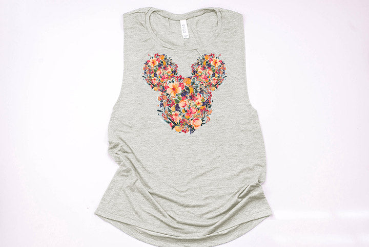 Fall Floral Mickey Muscle Tank - Crazy Corgi Lady Designs