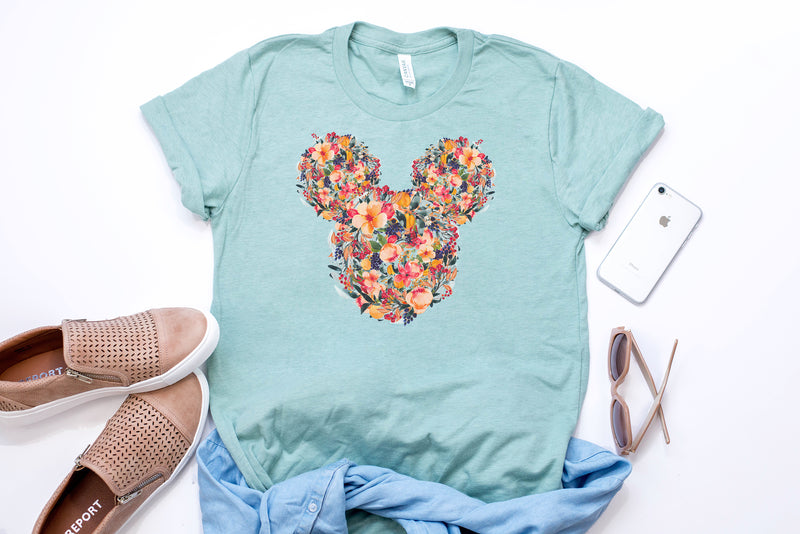 Fall Floral Mickey Tee - Crazy Corgi Lady Designs - Unique Disney Themed Shirts