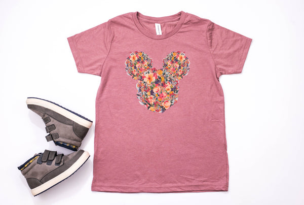 Fall Floral Mickey Youth T-Shirt - Crazy Corgi Lady Designs - Unique Disney Themed Shirts